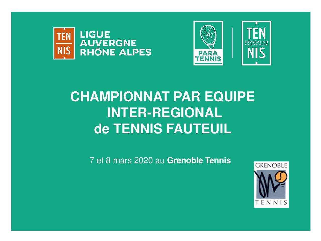 Championnat Inter Régional de Tennis Fauteuil – 7 et 8 mars 2020