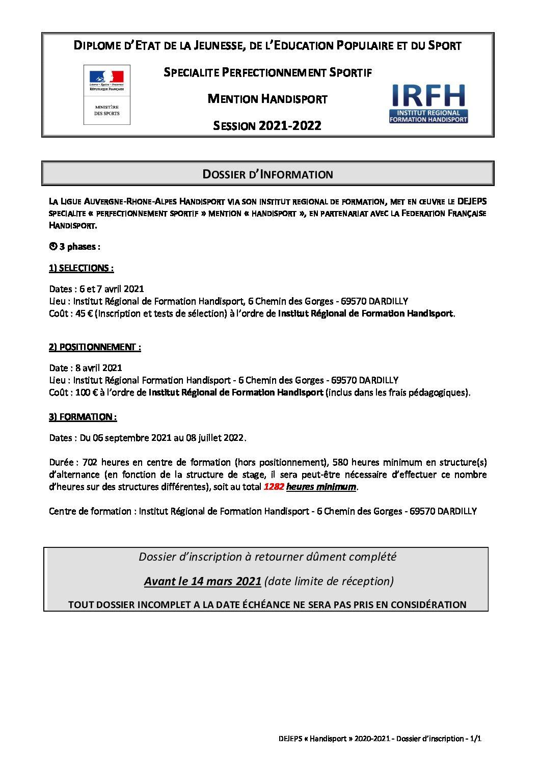 FORMATION DEJEPS HANDISPORT SESSION 2021-2022